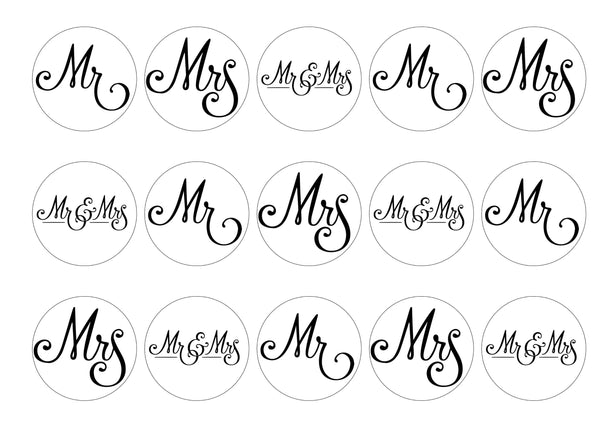 15 toppers printed with Mr and Mrs designs