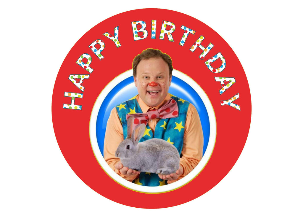 Printed edible cake topper with Mr Tumble