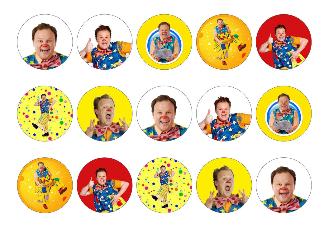 Printed edible cupcake toppers with Mr Tumble