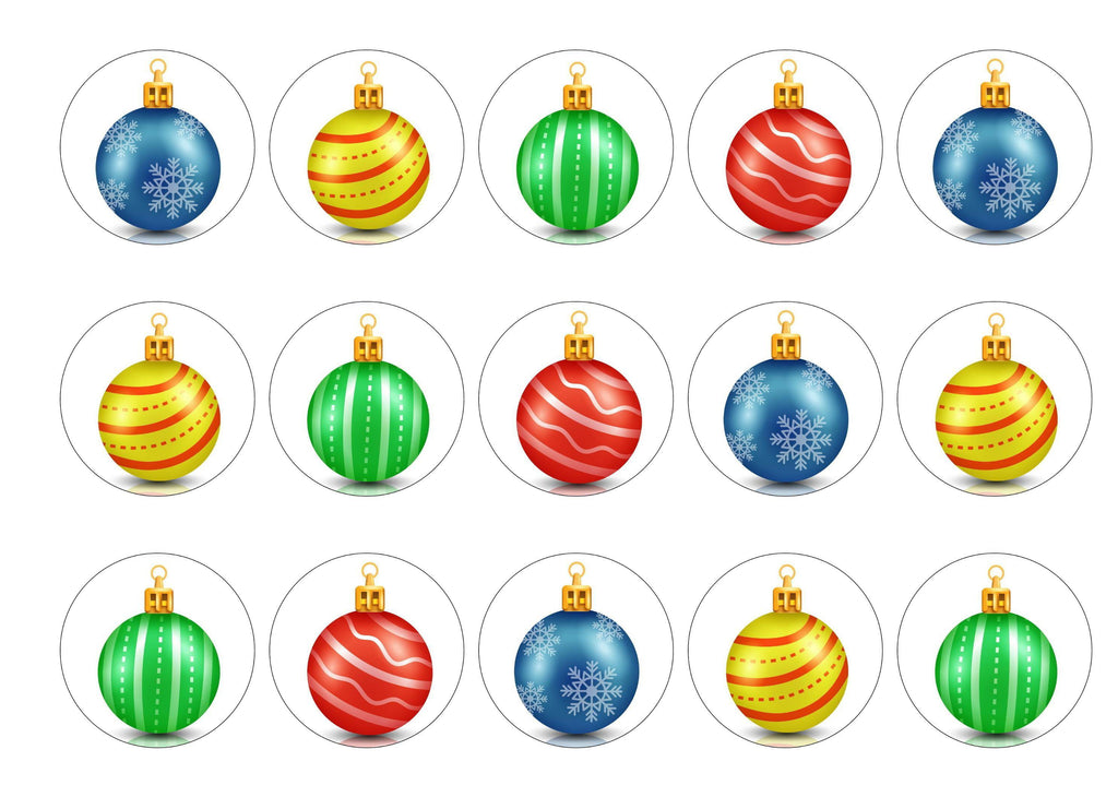 15 printed cupcake toppers with multicoloured Christmas bauble images