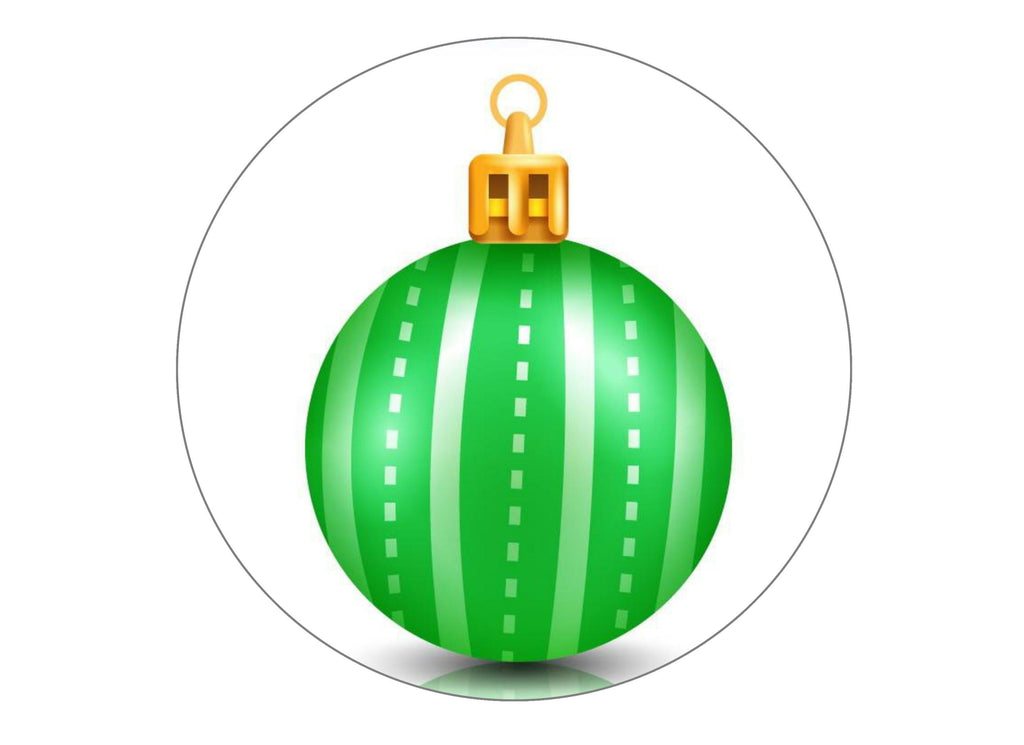large printed cake topper with a green Christmas Bauble