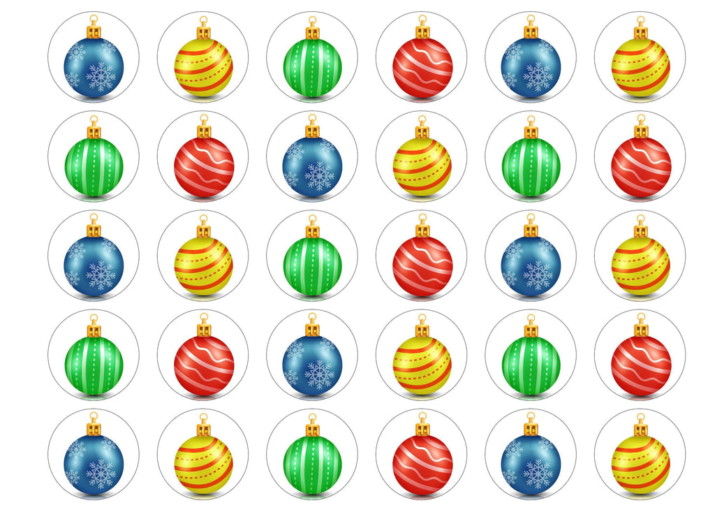 30 edible printed cupcake toppers with multicoloured Christmas bauble designs