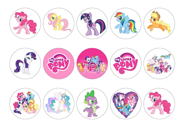 15 printed My Little Pony cupcake toppers
