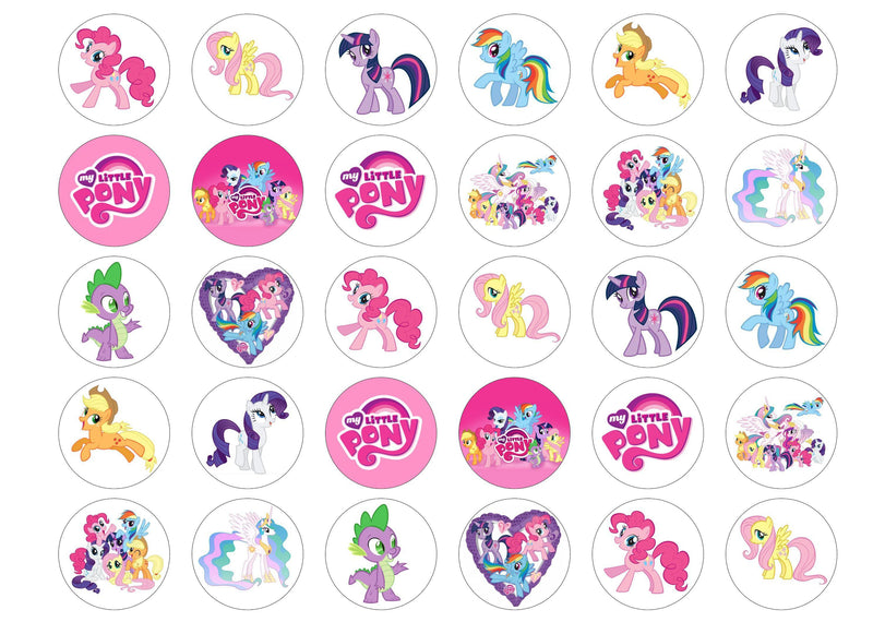 30 edible My Little Pony cupcake toppers