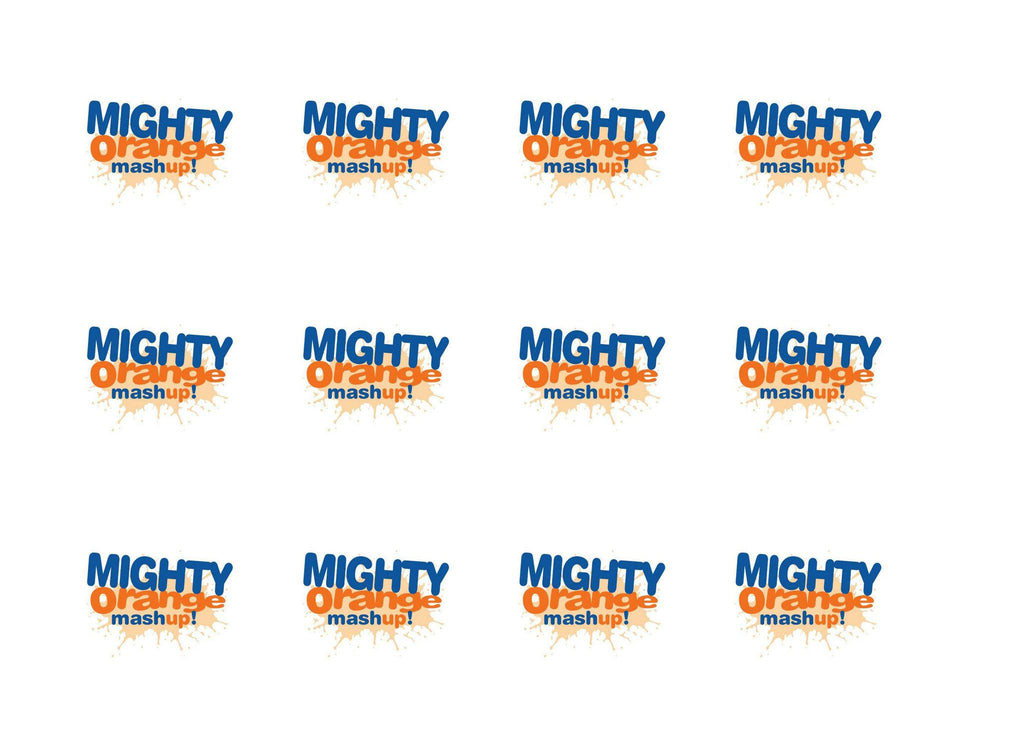 Printed cupcake toppers with the NASS Mighty Orange Mashup logo