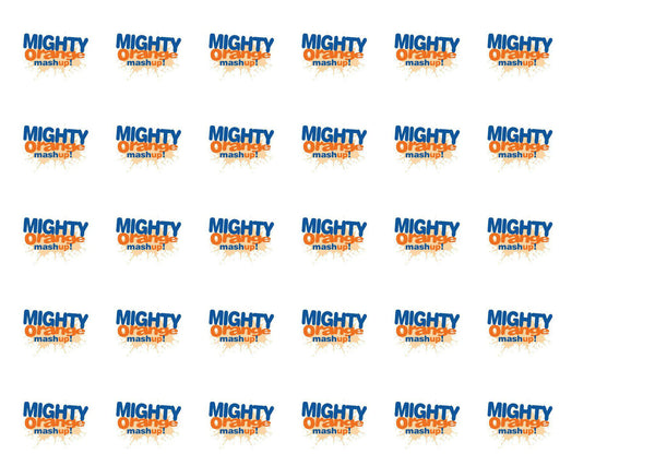 Edible cupcake toppers with the NASS Mighty Orange Mashup logo