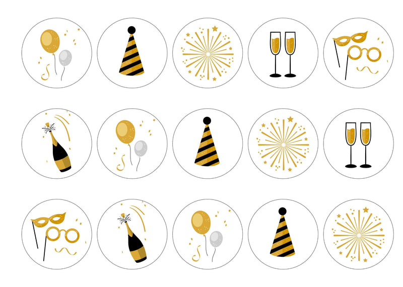 15 printed cupcake toppers with a new year design