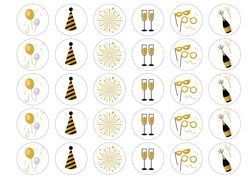 30 edible printed cupcake toppers with new year images