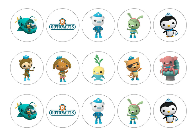 Printed edible cupcake toppers with images from the Octonauts
