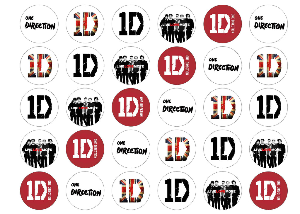 Printed edible cupcake toppers with One Direction logos