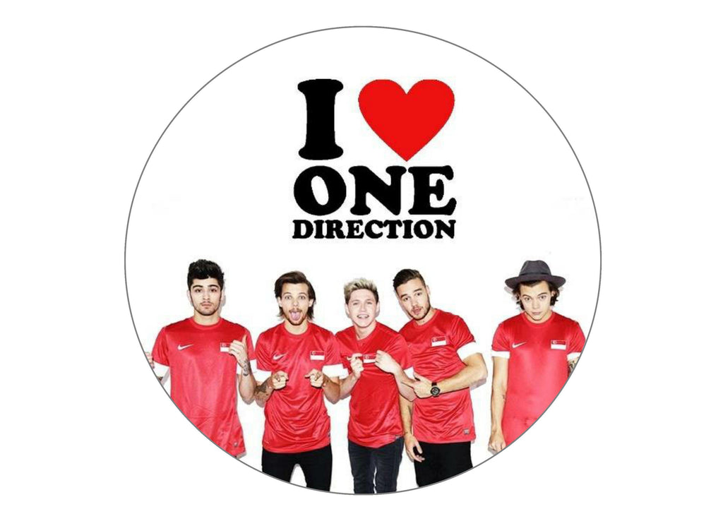 Printed edible cake topper with One Direction logo