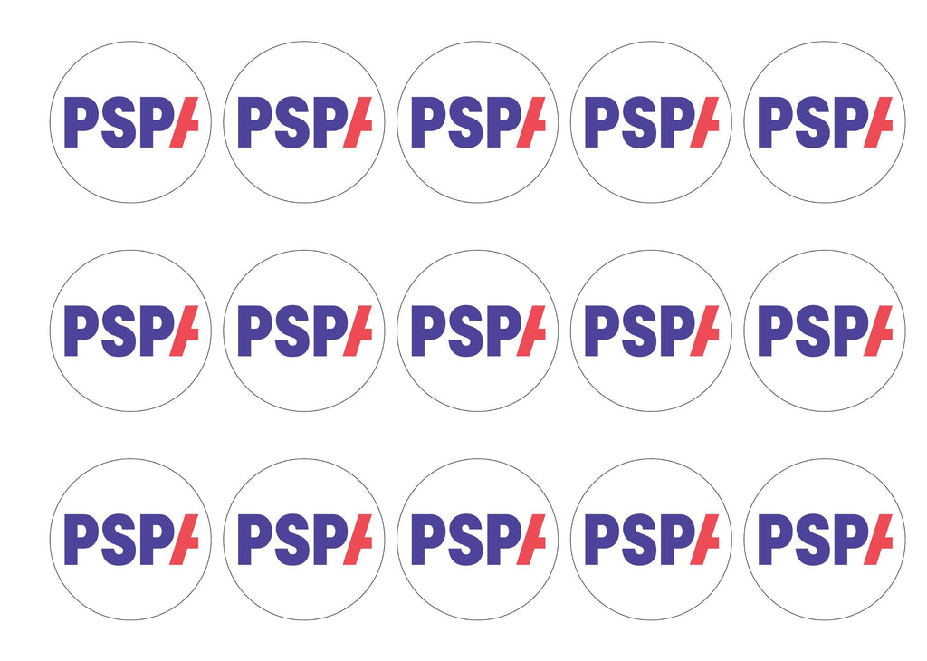 15 printed cupcake toppers with the PSPA charity logo