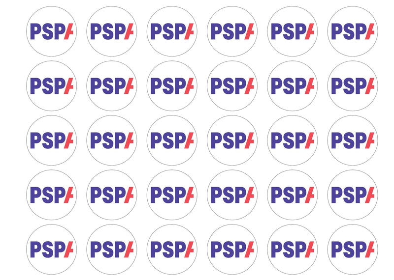 15 edible cupcake toppers with the PSPA charity logo