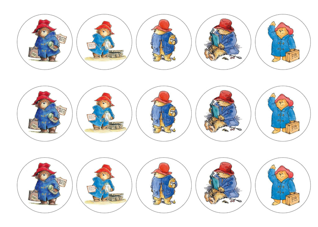 Edible cupcake toppers printed with classic pictures of Paddington Bear