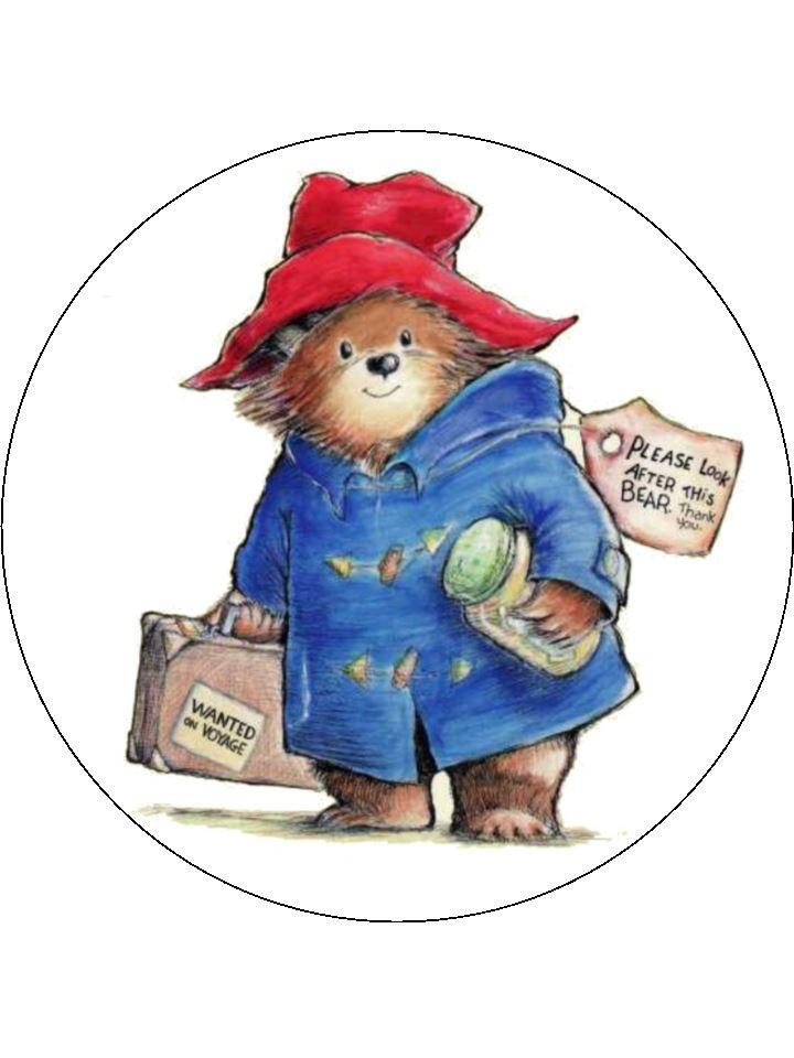 Large edible cake topper printed with a classic picture of Paddington Bear