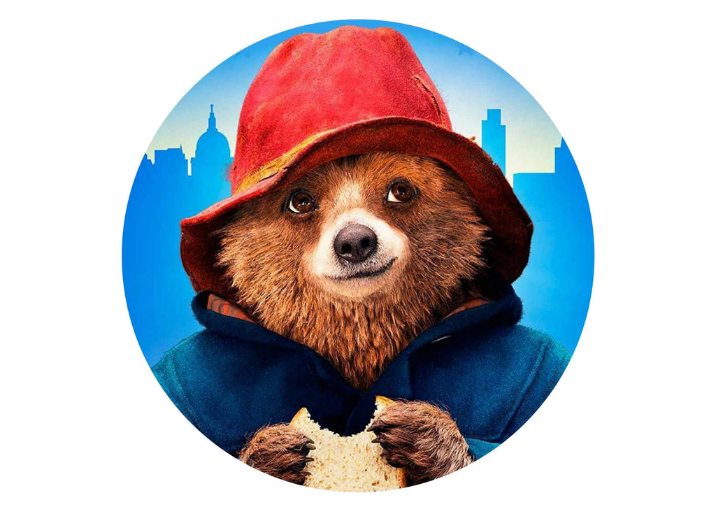 Large cake topper with an image of Paddington