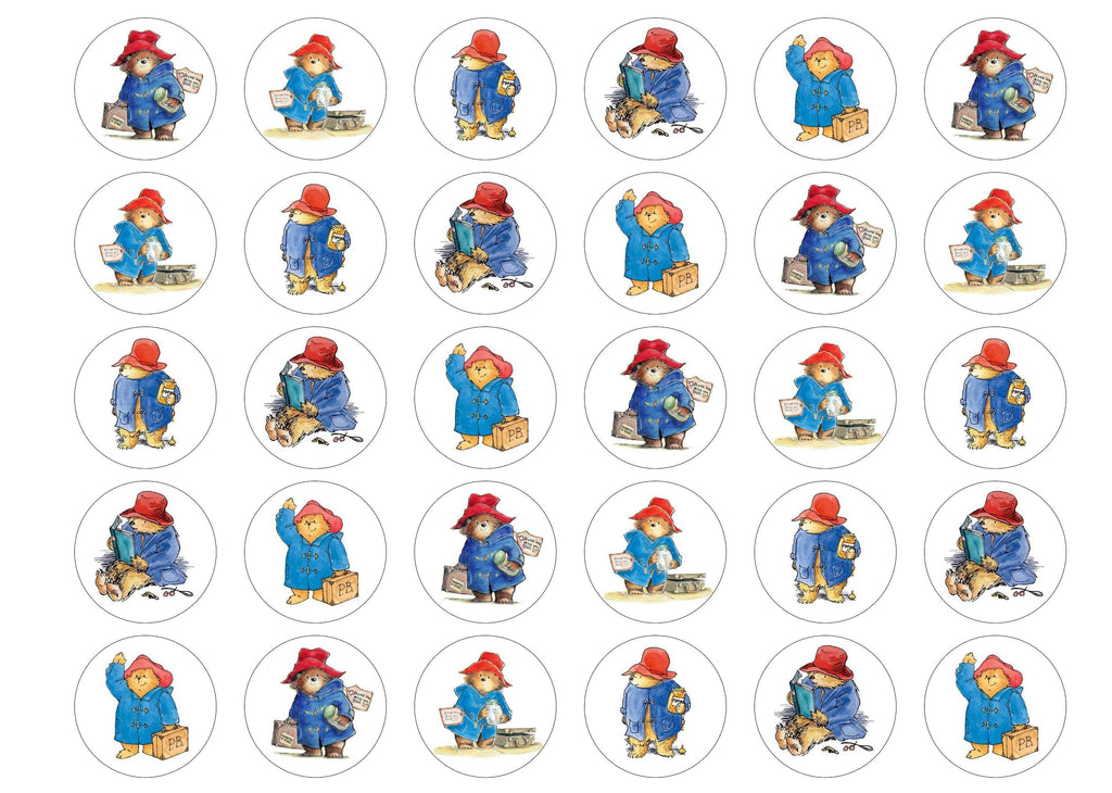 Printed cupcake toppers printed with classic pictures of Paddington Bear