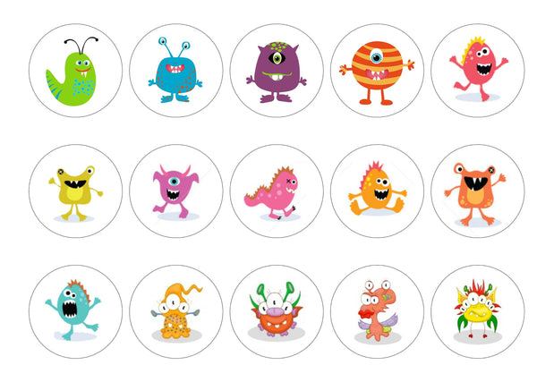 Printed edible cupcake toppers with party monsters