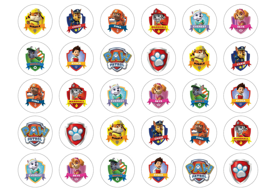 Printed edible cupcake toppers with Paw Patrol characters