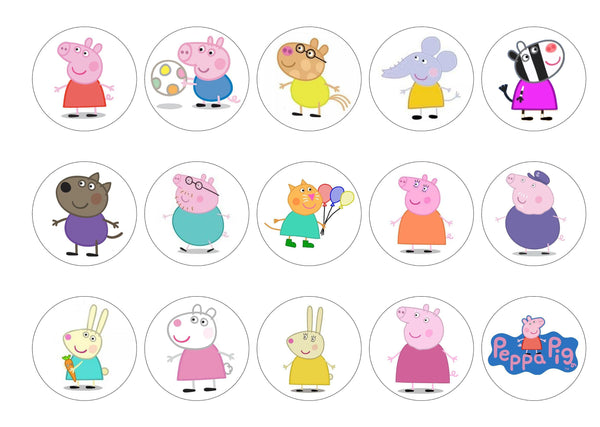 15 printed toppers with images of Peppa Pig and friends