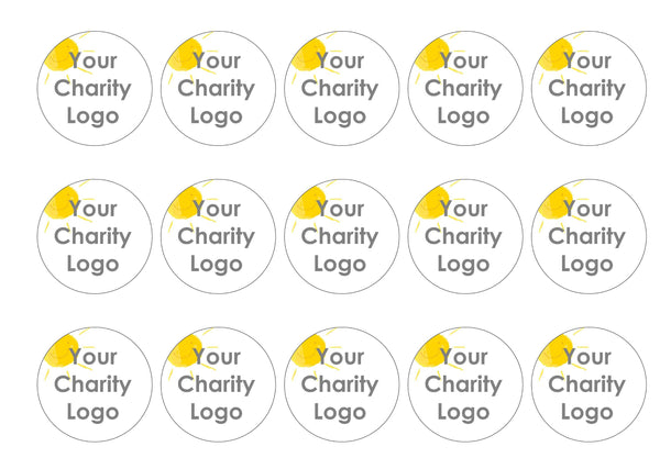 15 edible printed cake toppers with your charity logo