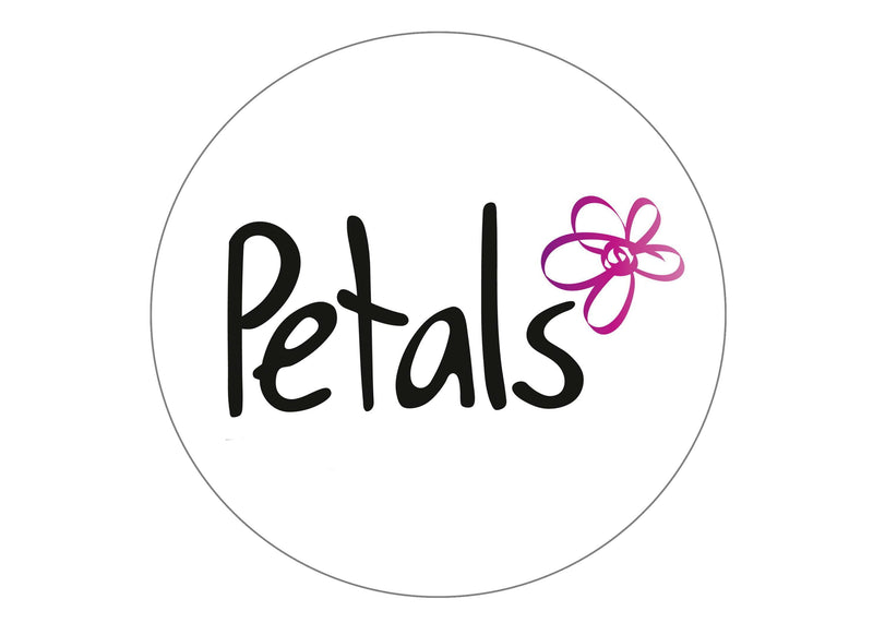 Large cake topper with Petals Charity logo