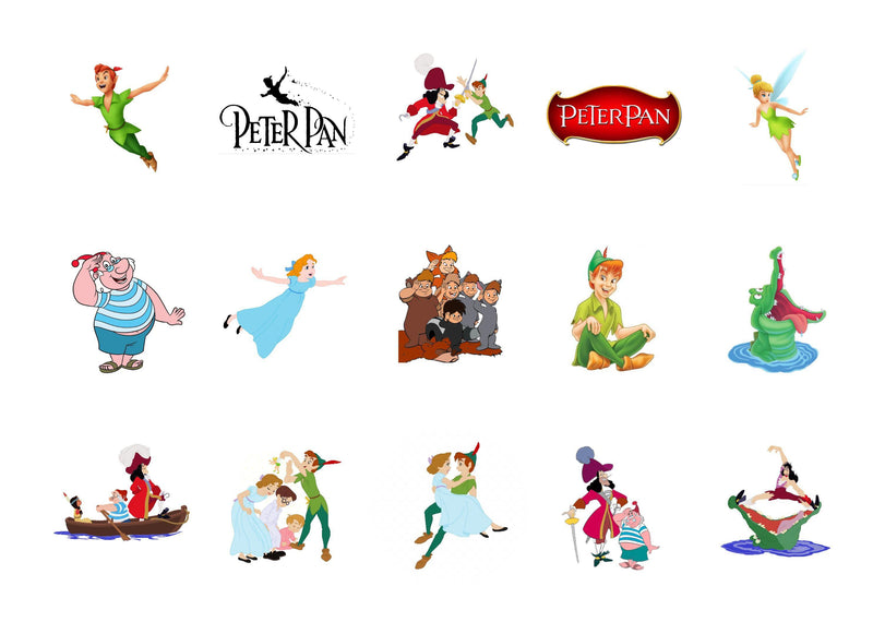 Printed cake toppers featuring characters from the Disney film Peter Pan