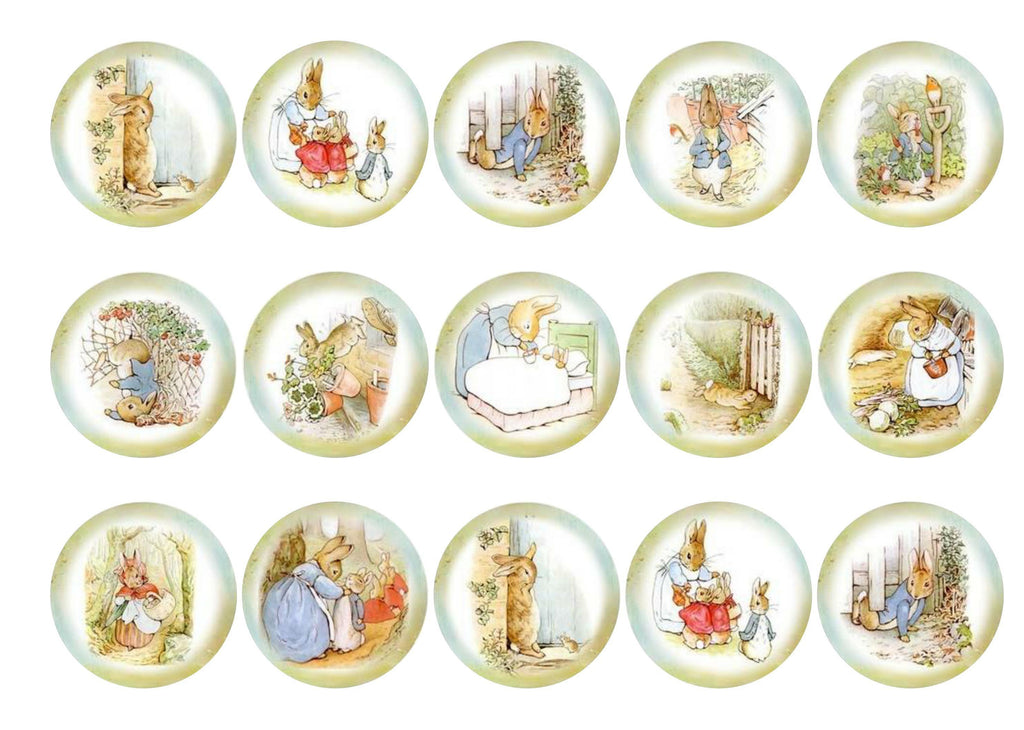 15 printed cupcake toppers with Peter Rabbit images