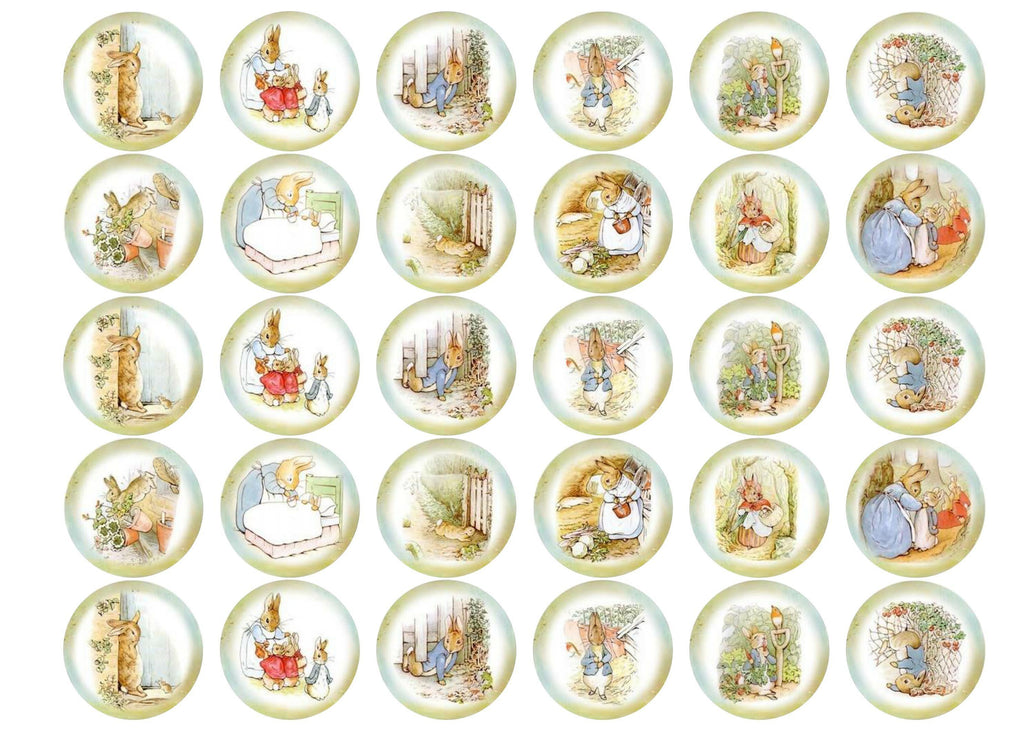 30 edible cupcake toppers with Peter Rabbit images