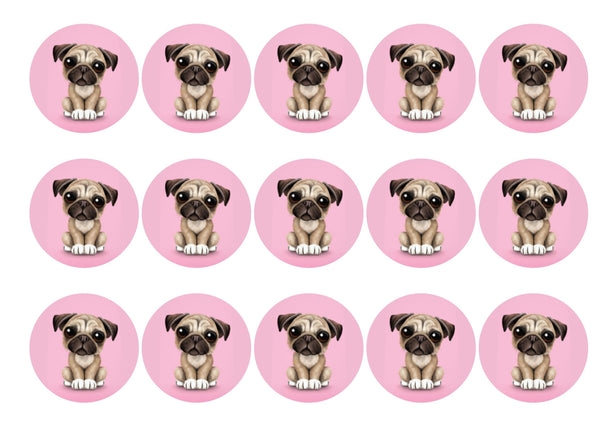 Edible printed cake toppers with pug image
