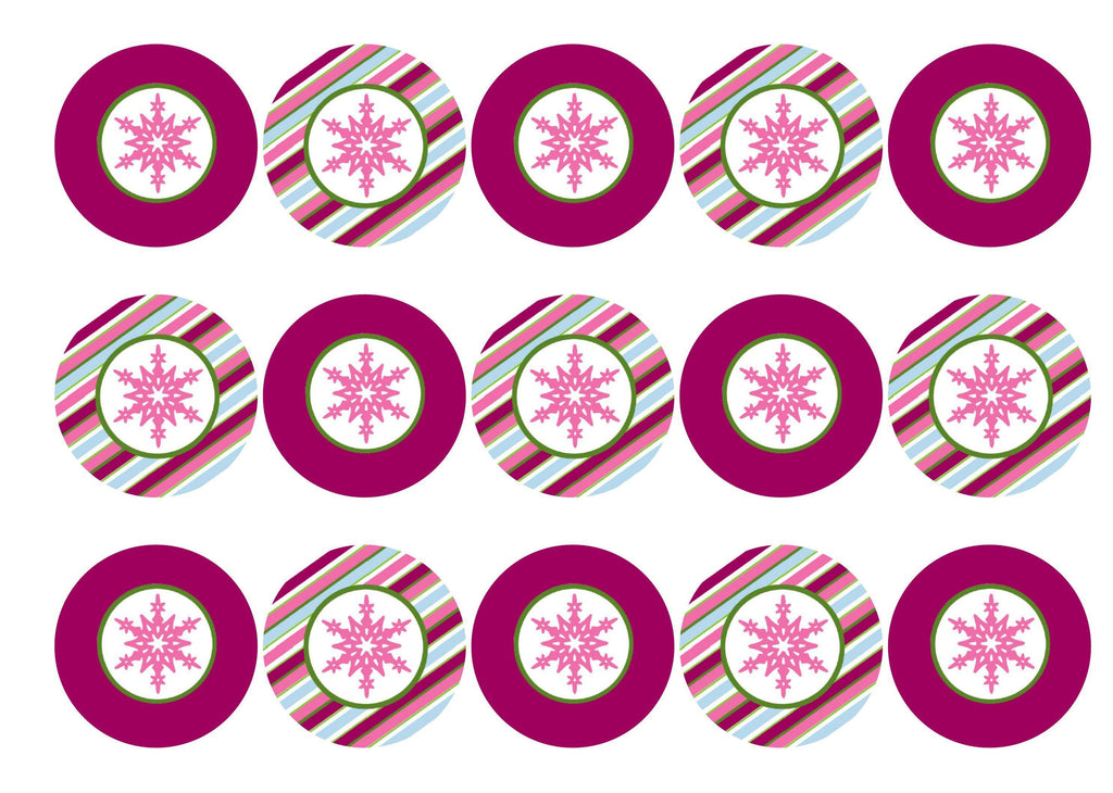 Edible Christmas cupcake toppers and cake toppers with pink snowflake images printed on rice paper or icing