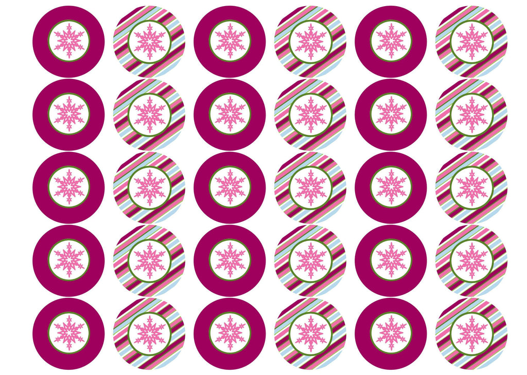 Printed Christmas cupcake toppers and cake toppers with pink snowflake images printed on rice paper or icing