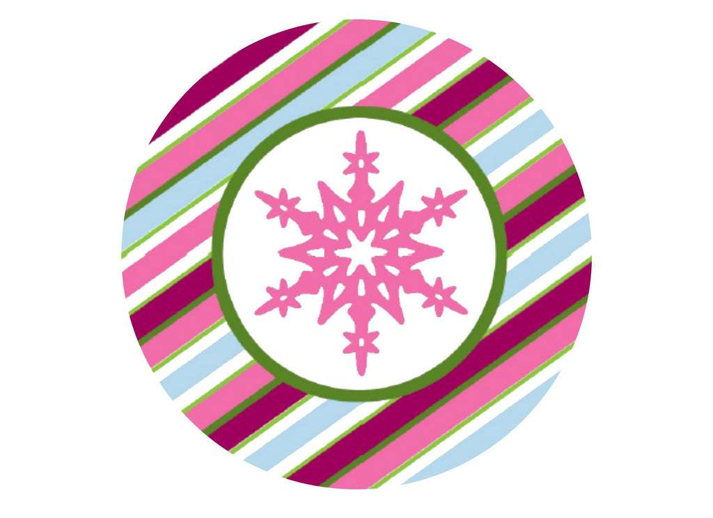 "7.5"" printed edible Christmas cake topper with pink snowlfake"