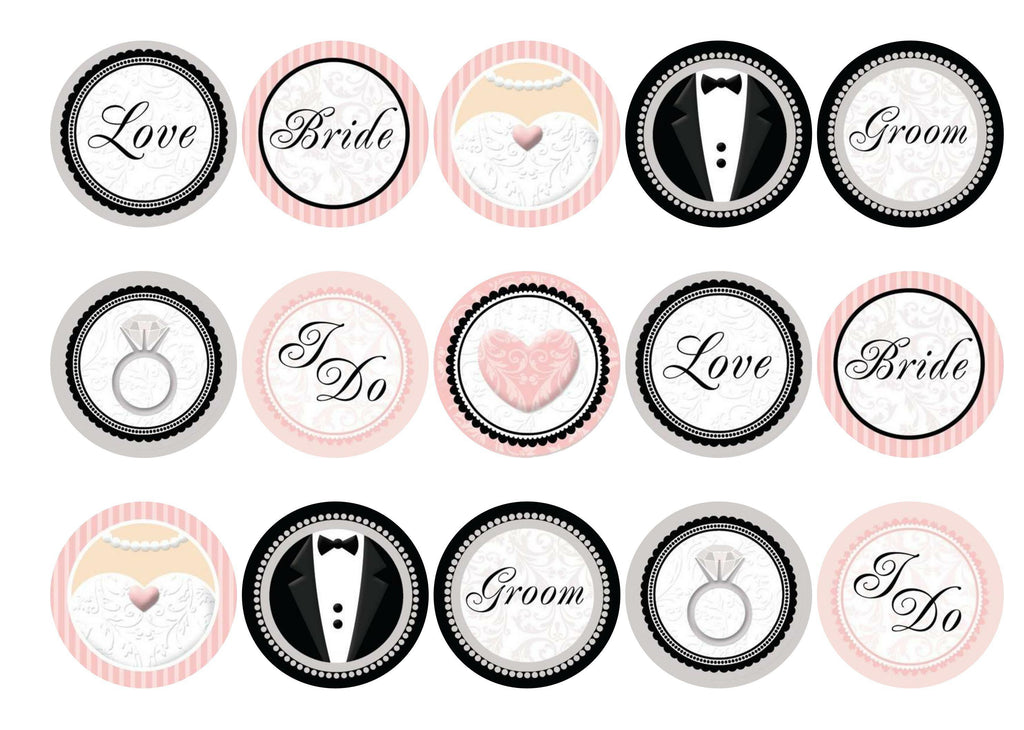 Printed pink and black wedding cupcake toppers