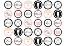 30 edible cupcake toppers with a pink and black wedding design