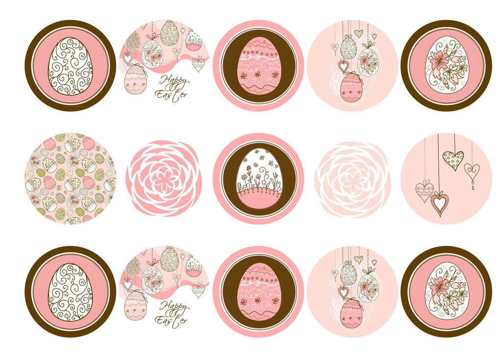 Printed cupcake toppers with pink and brown Easter Egg images