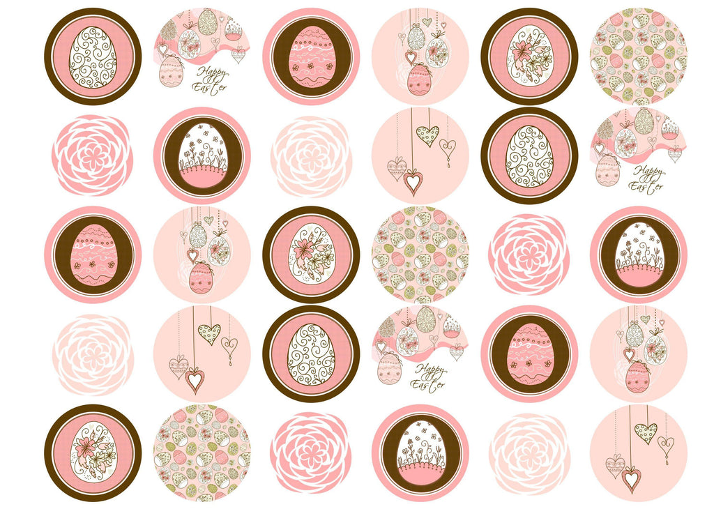 Edible cupcake toppers with pink and brown Easter Egg images