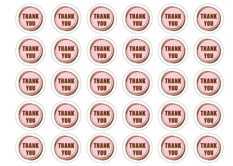 Printed edible cupcake toppers to say thank you