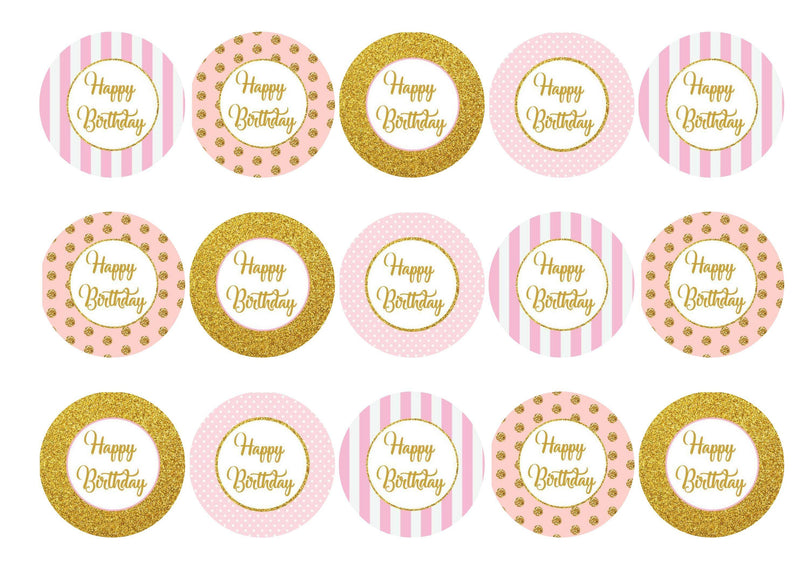 Edible pink and gold Happy Birthday cupcake toppers