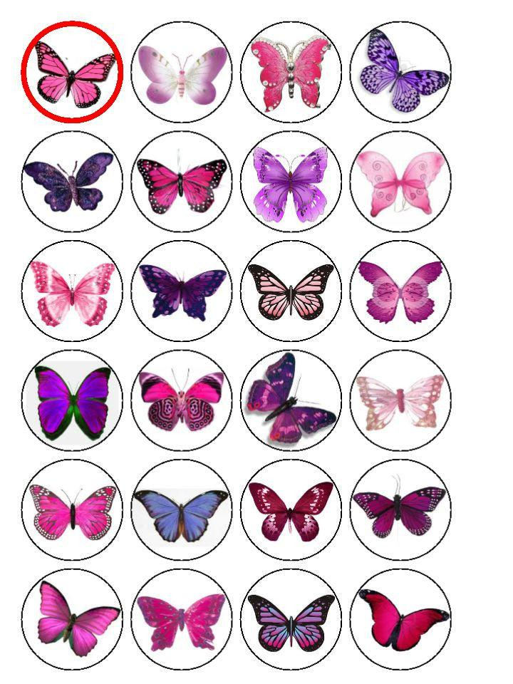 Butterfly and Flower Cupcake Toppers-Edible cake toppers-Edibilis