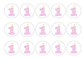Printed cupcake toppers with a pink number one candle image