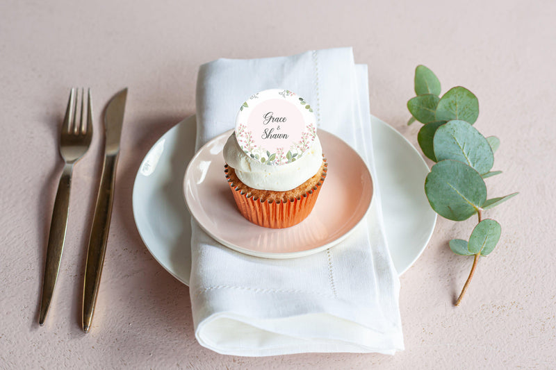 Pink and Green Wedding - Save The Date-Edible cake toppers-Edibilis
