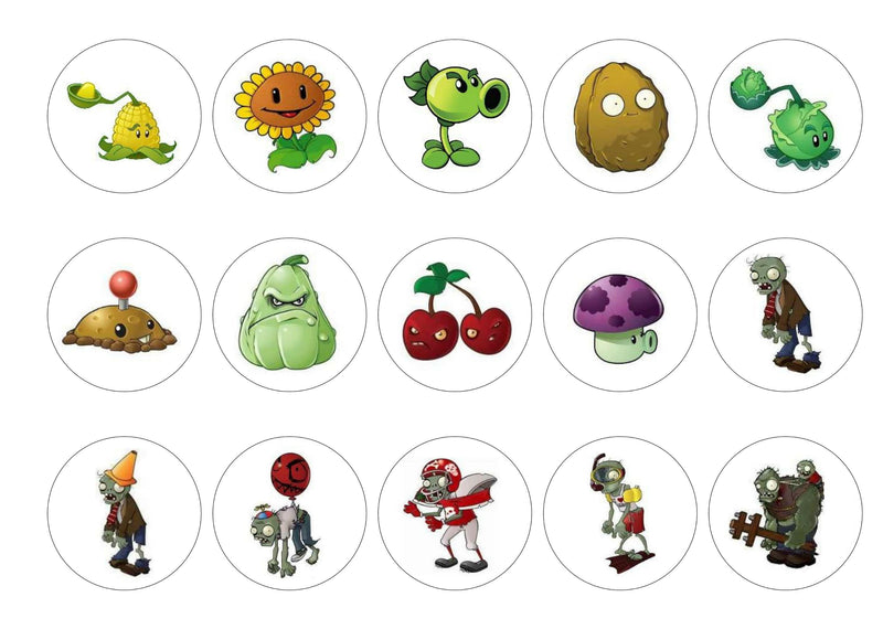 Edible printed cupcake toppers with Plants vs Zombies computer game