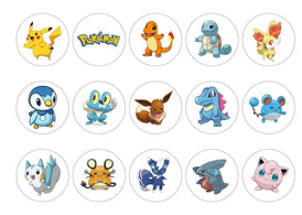 Printed edible cupcake toppers with Pokemon images