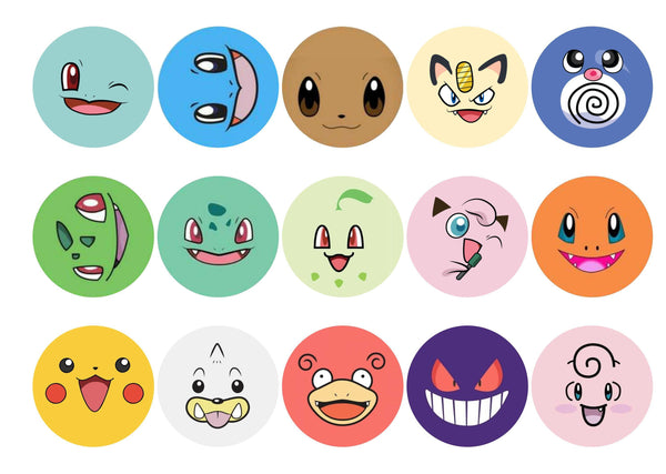 15 printed cupcake toppers with Pokemon faces