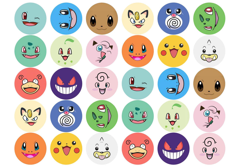 30 edible cupcake toppers with Pokemon faces
