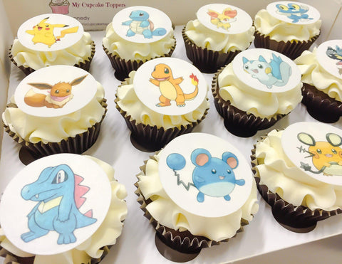 Pokemon edible cupcake toppers