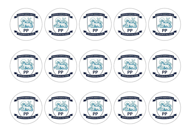 15 printed cupcake toppers with the Preston North End badge