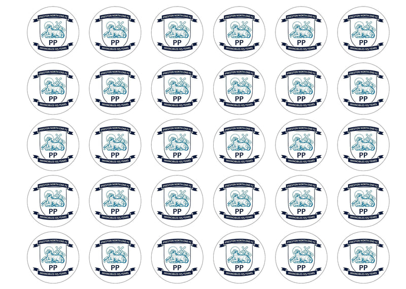 30 edible cupcake toppers with the Preston North End badge