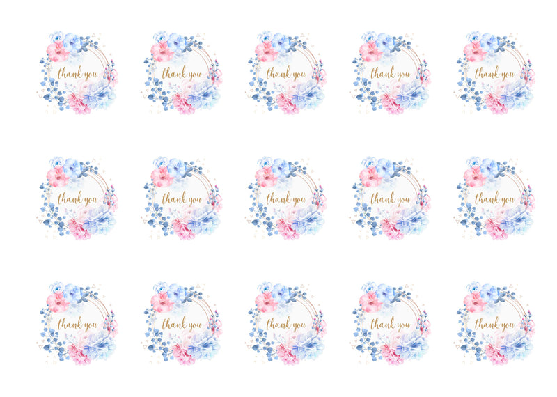 15 printed toppers with a pretty floral design to say thank you